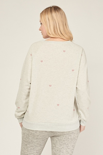 Heart Embroidered Sweatshirt