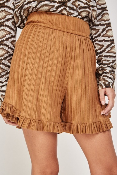 Suedette Pleated Ruffled Shorts