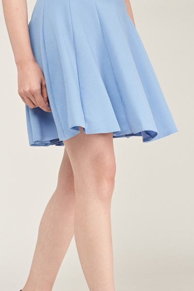 Textured Sky Blue Swing Dress