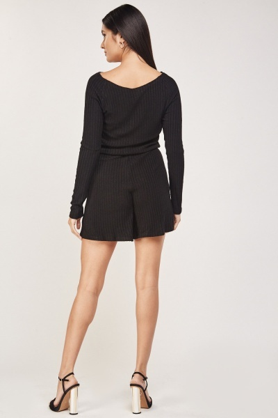 Tie Up Ribbed Playsuit