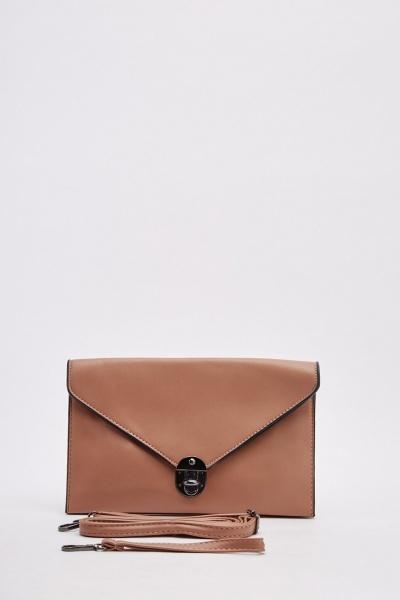 Envelope Faux Leather Clutch Bag