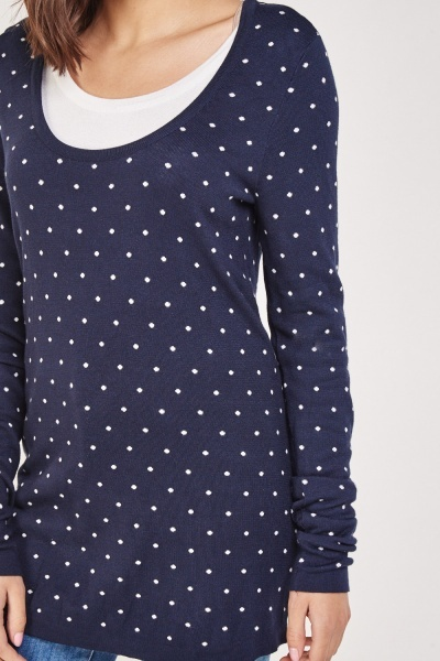 Contrasted Polka Dot Knit Sweater
