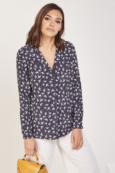 Long Sleeve Dove Printed Blouse