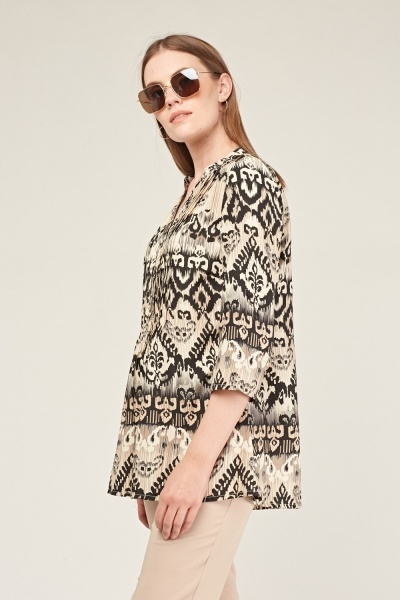 Ethnic Printed Tunic Blouse