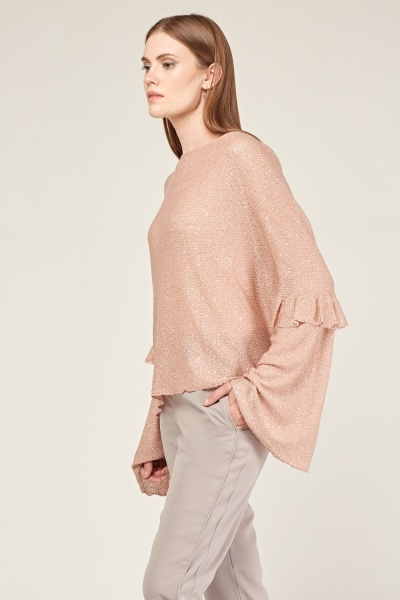 Frilly Sequinned Loose Knit Sweater