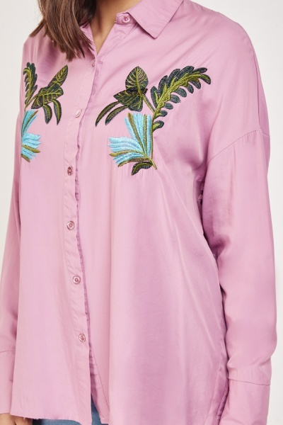 Leaf Embroidered Slouchy Shirt