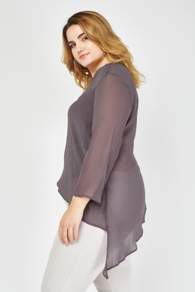 Plain V-Neck Asymmetric Top