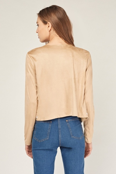 Embroidered Suedette Crop Blazer