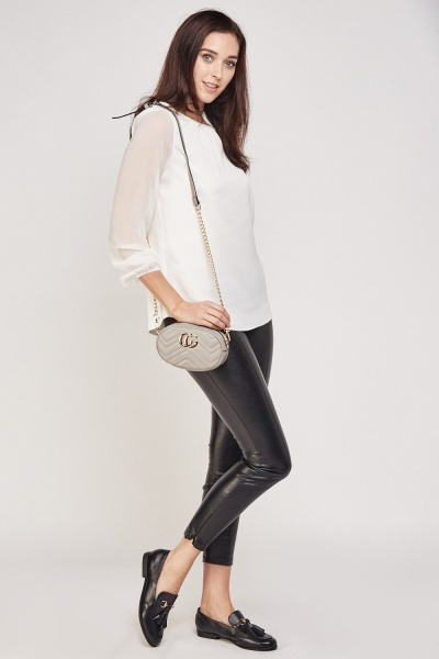 White Contrast Sleeve Blouse