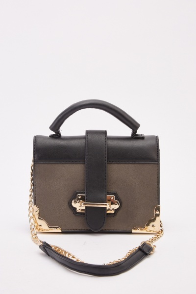Contrasted Mini Briefcase Bag