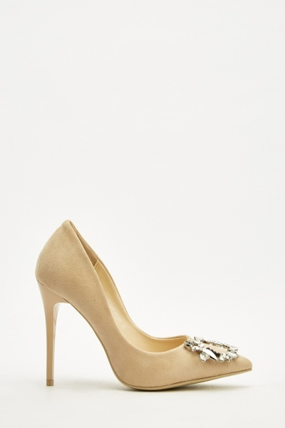 Diamante Trim Suedette Court Heels