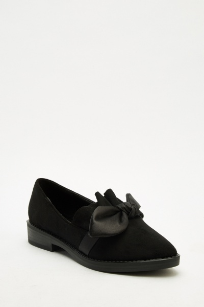 Sateen Bow Front Loafers