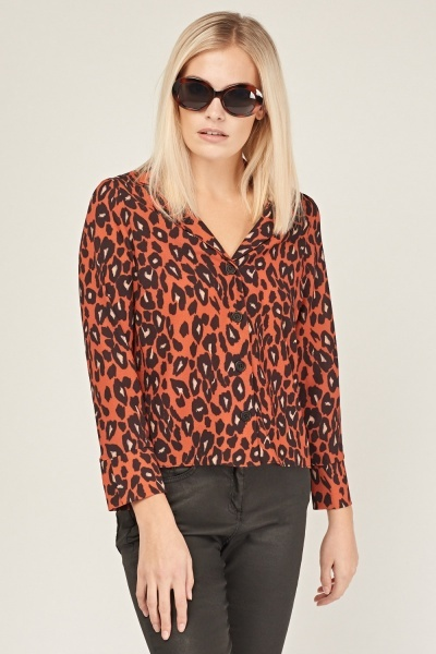 Animal Print Cropped Shirt