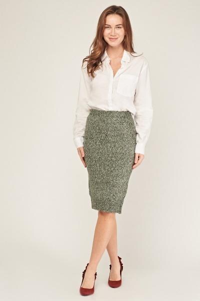 High Waist Speckled Knit Skirt