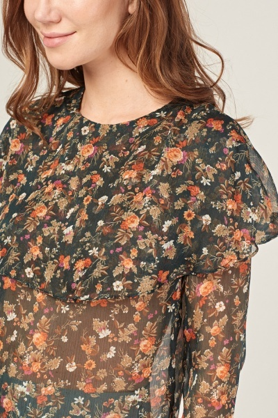 Sheer Floral Print Blouse