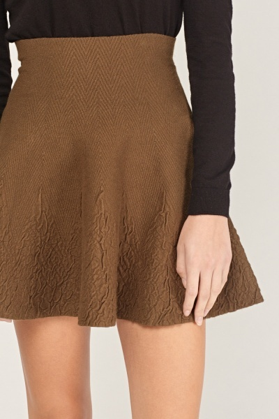 Textured Flared Knitted Skirt