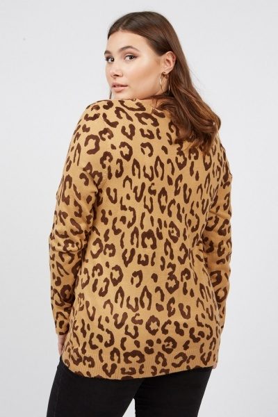Animal Print Fine Knit Cardigan
