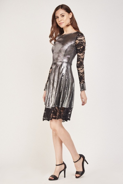 Lace And Metallic Contrast Dress