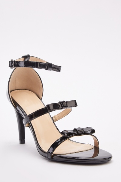 PVC Bow Strappy Heel Sandals