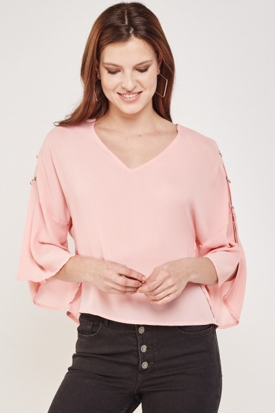 Eyelet Ring Trim Sheer Blouse