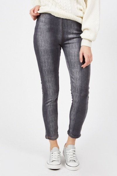 Faded Skinny Ankle Jeggings