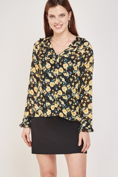 Floral Ruffle Sheer Blouse
