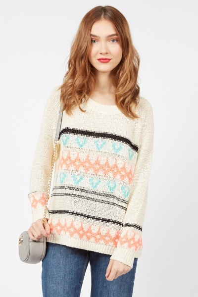 Graphic Loose Knit Jumper