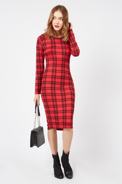 Plaid Checked Midi Dress