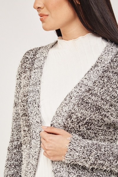 Speckled Eyelash Knit Cardigan