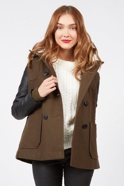 Contrasted Hooded Pea Jacket
