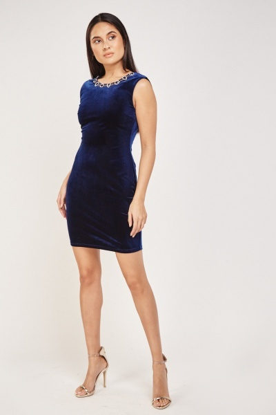 Embellished Neck Velveteen Dress