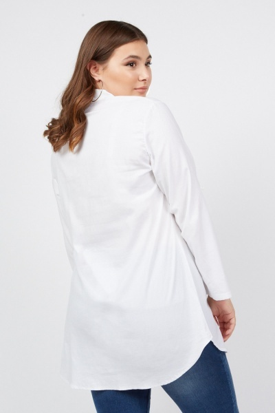 Embossed Long Line Shirt