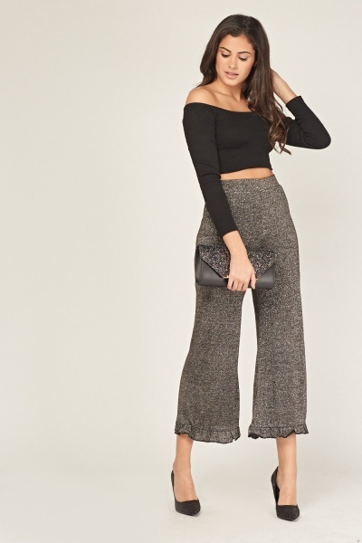 352b9fd5b1 Lurex Frilled Wide Leg Trousers - Black/Silver or Brown/Silver - Just £5
