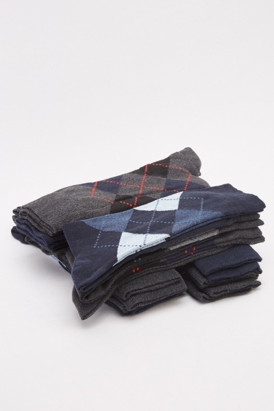 Men's Pack Of 12 Argyle Socks Set