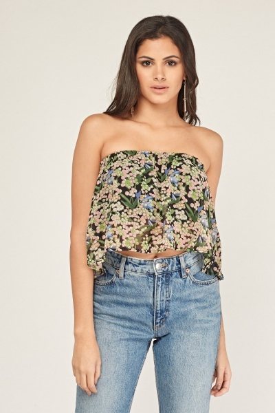 Off Shoulder Floral Crop Top