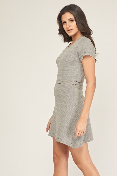 Ribbed Laser Cut Swing Dress