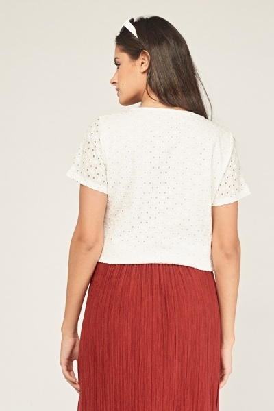 Short Sleeve Broderie Top