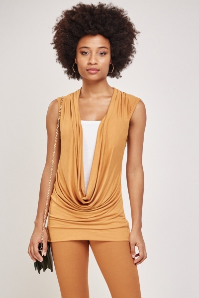 Top Insert Cowl Neck Top