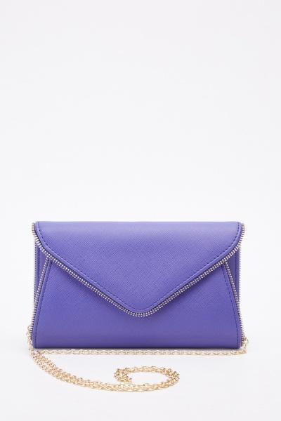 Envelope Faux Leather Purple Clutch