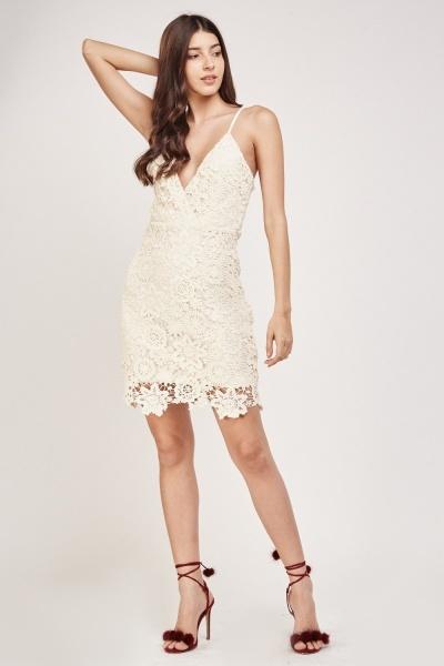 3D Floral Crochet Wrap Dress
