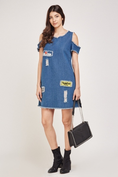 Applique Raw Edge Denim Dress