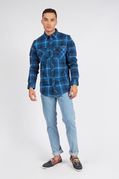 Blue Plaid Checked Shirt
