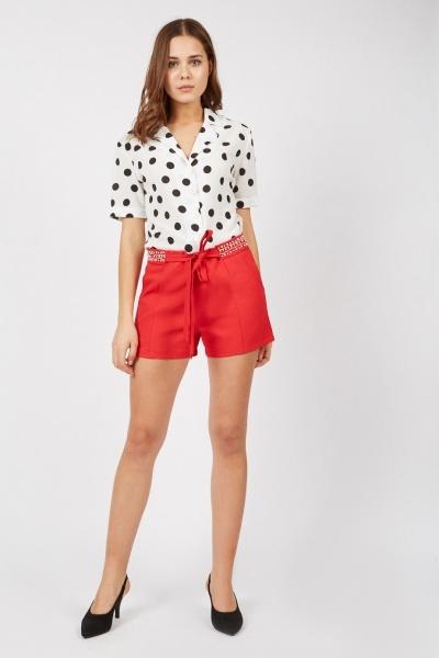 Embellished Belted Waist Shorts