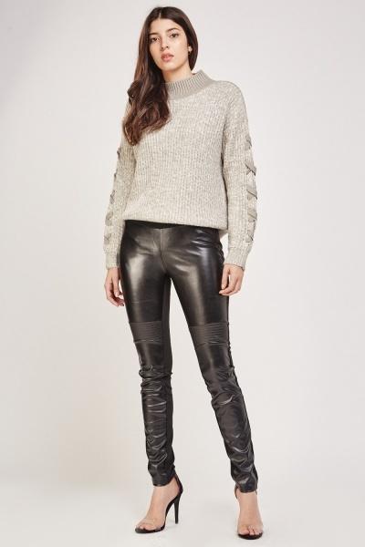 Faux Leather Contrast Biker Leggings
