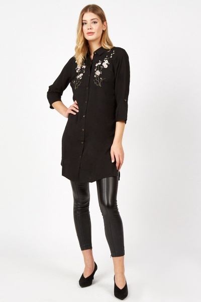 Flower Embroidered Long Shirt