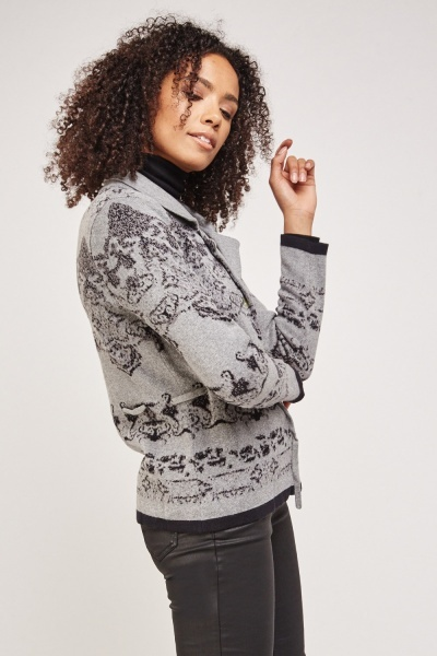 Printed Tie Up Knit Cardigan