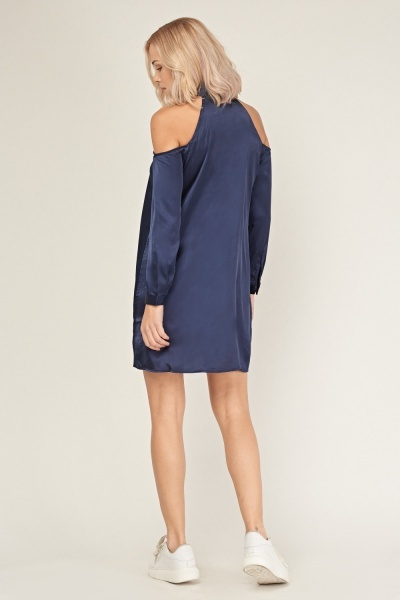 Cold Shoulder Sateen Shirt Dress