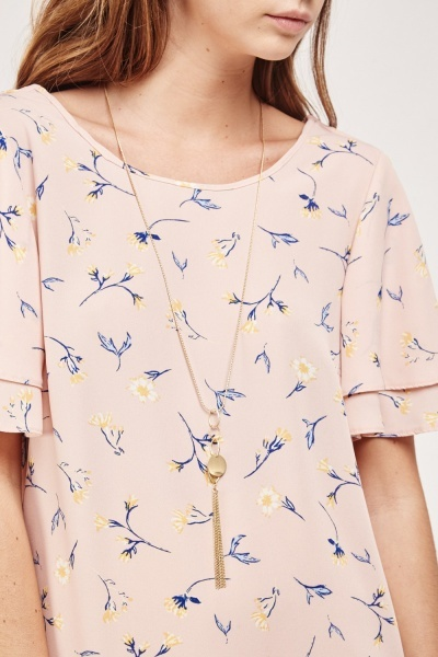 Layered Sleeve Printed Blouse