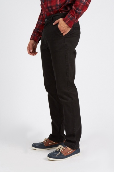 Straight Leg Black Chino Trousers