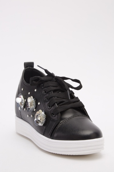 Sequin Embellished High Top Shoes